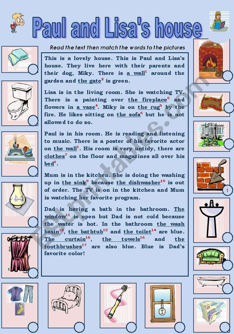 PAUL AND LISA´S HOUSE worksheet