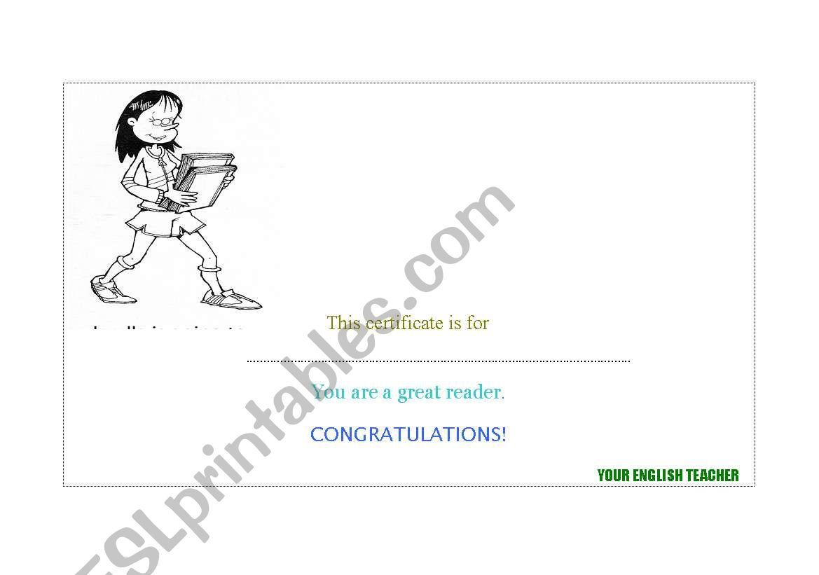 reading certificate worksheet
