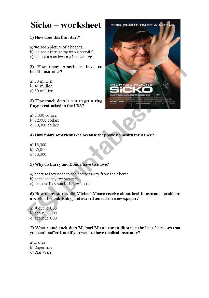 sicko film guide esl worksheet by trapalhoni