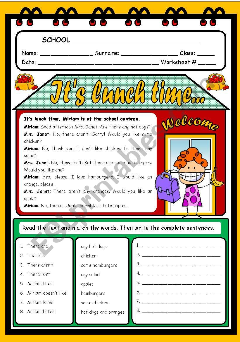 IT´S LUNCH TIME... worksheet