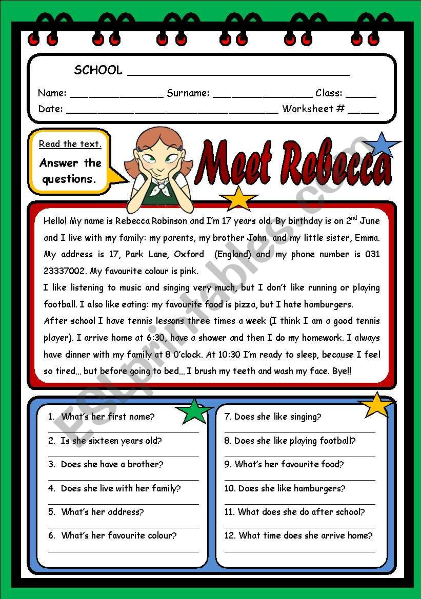 MEET REBECCA worksheet