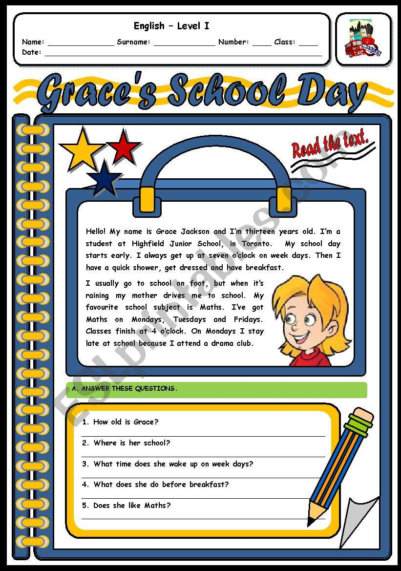 GRACE´S SCHOOL DAY - 2 PAGES worksheet