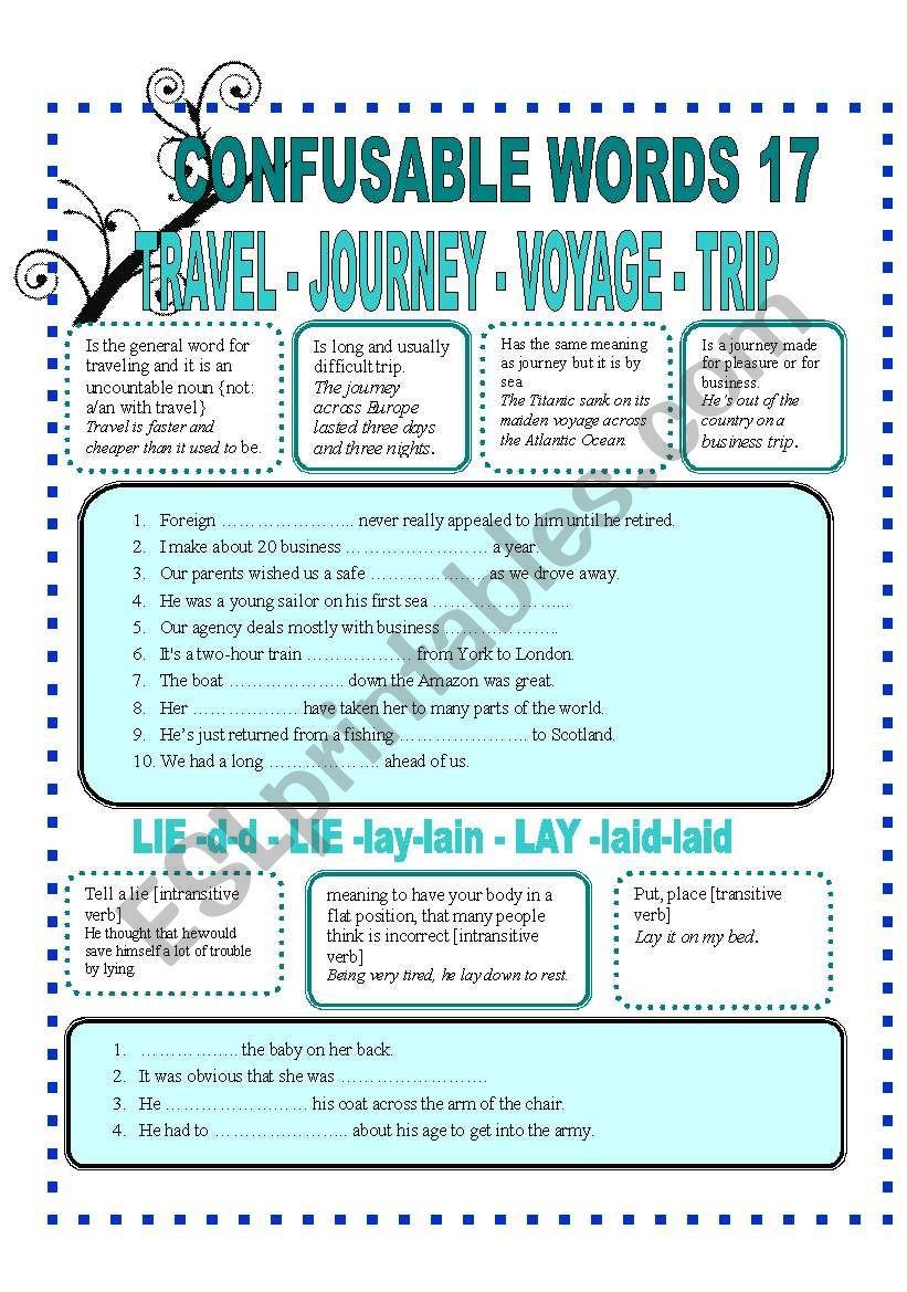 CONFUSABLE WORDS 17 worksheet