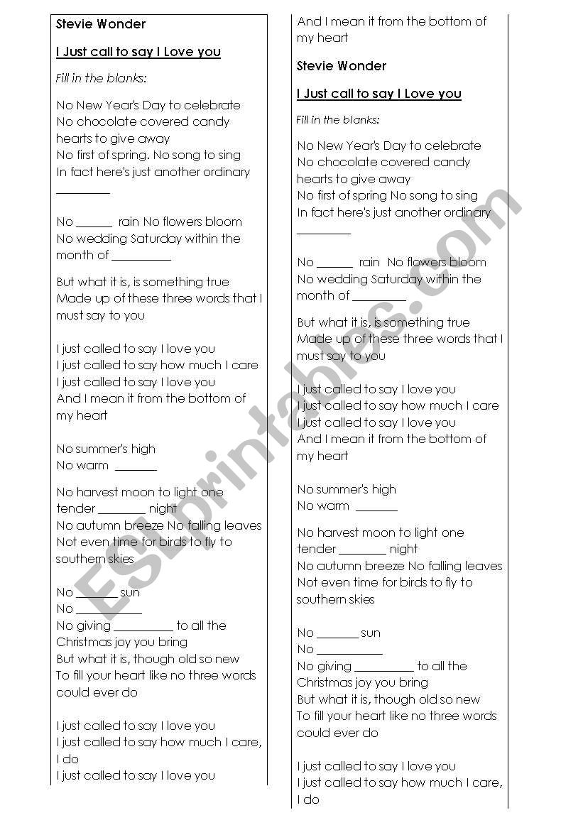 Stevie Wonder  worksheet