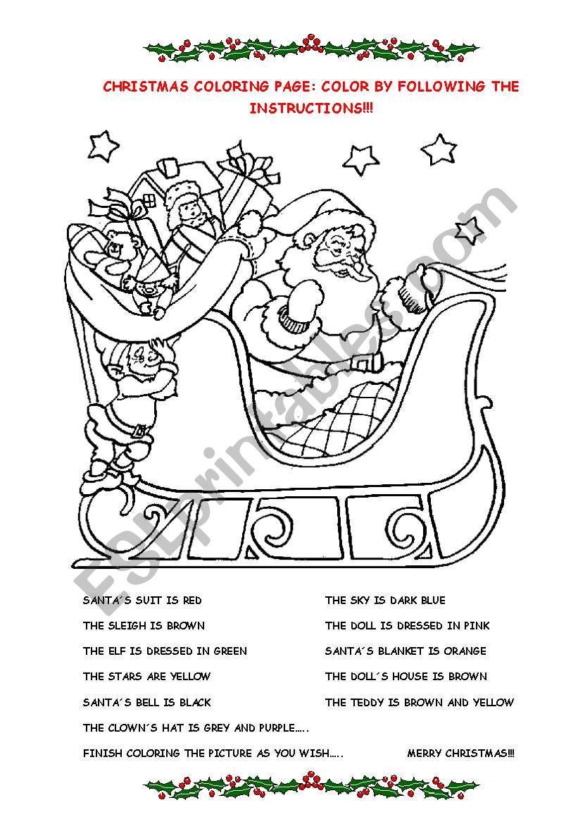 Color Santa  worksheet