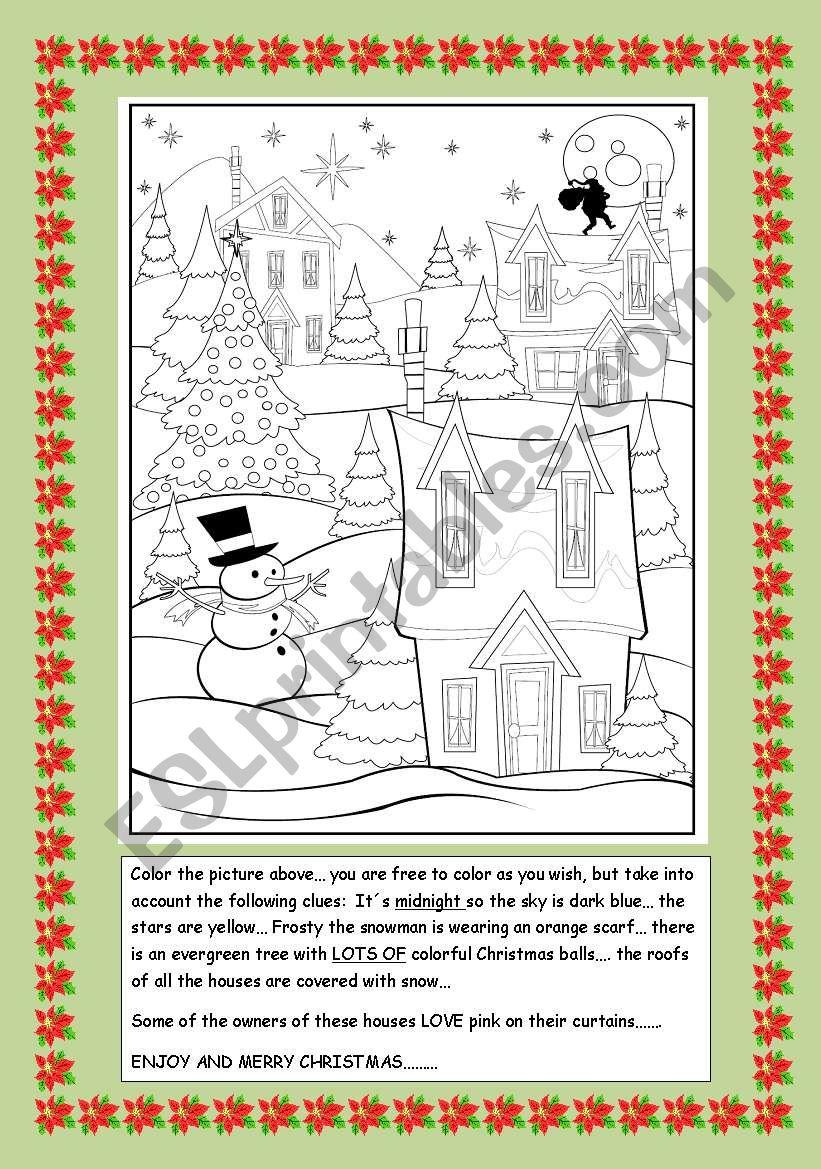 Christmas village worksheet