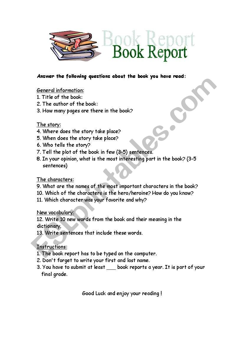 Book Report Esl Worksheet By Ronitmr