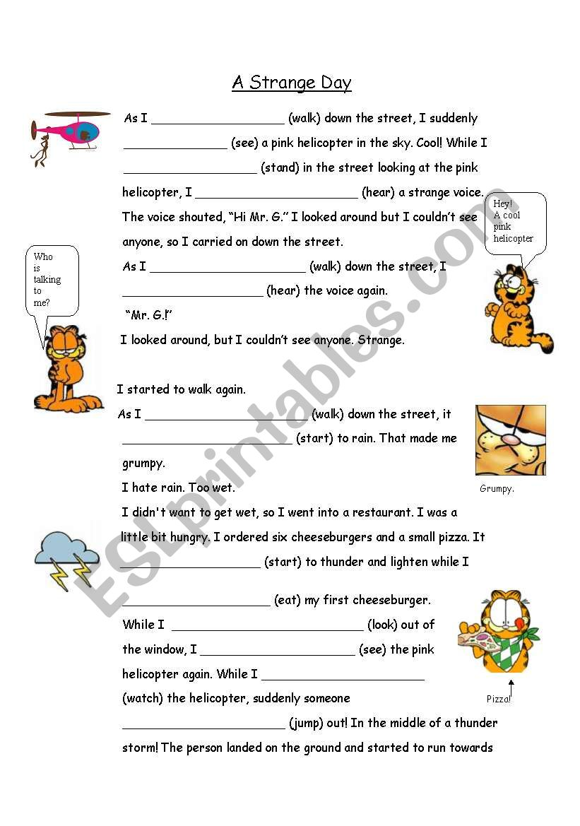 Past Continuous/Simple with Garfield