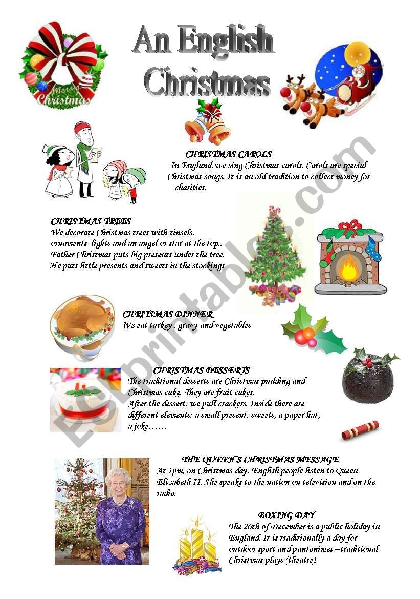 An English Christmas - ESL worksheet by S. Couléon