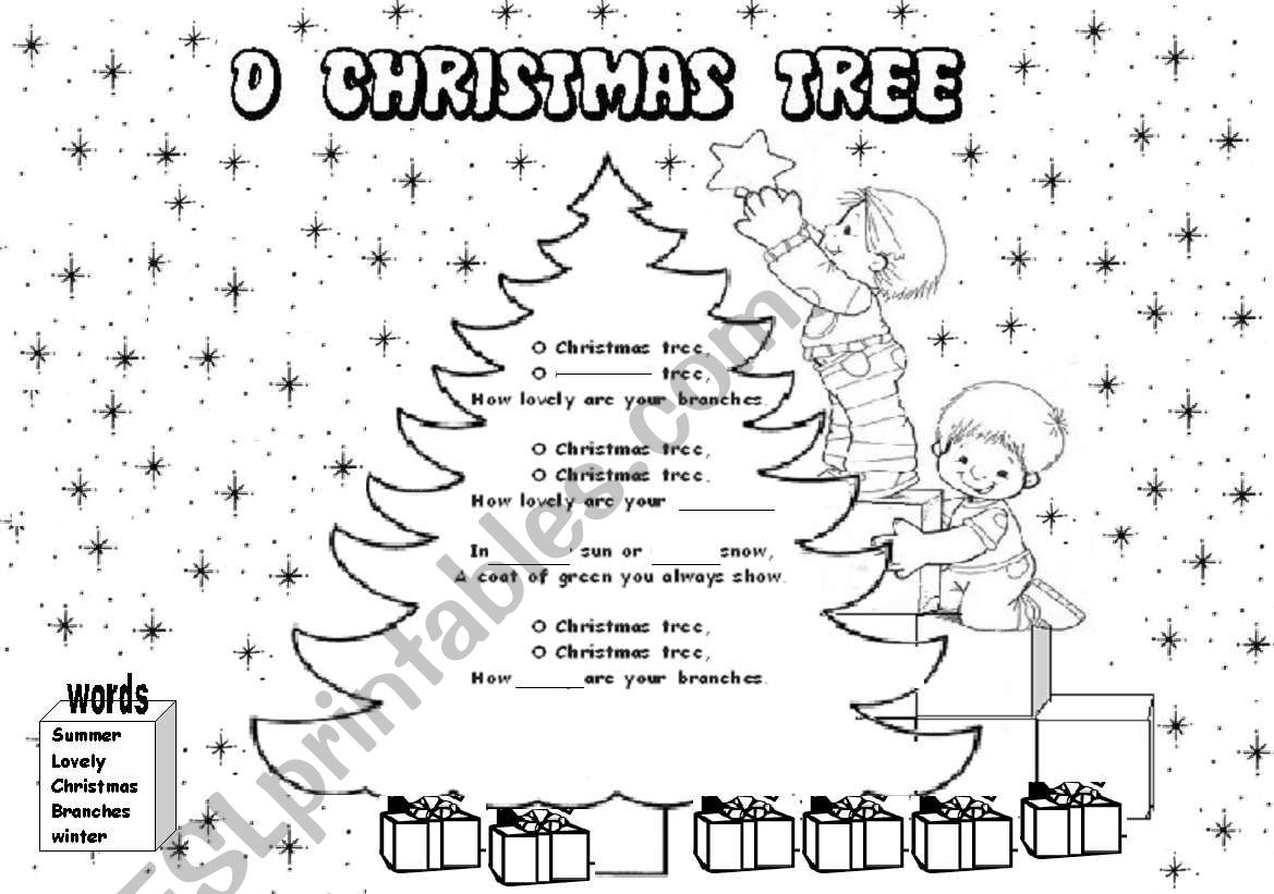 """Fill In The Gaps """"o Christmas Tree Song"""""""