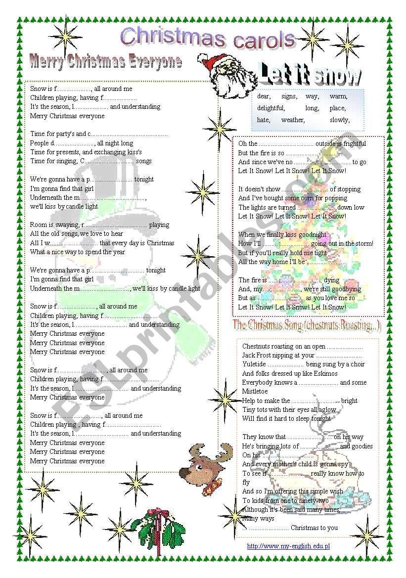 Christmas carols, Christmas songs - ESL worksheet by my-english.edu.pl