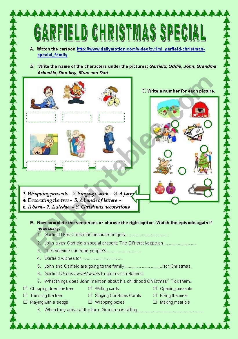 Garfield Christmas Special - ESL worksheet by cristinasuma
