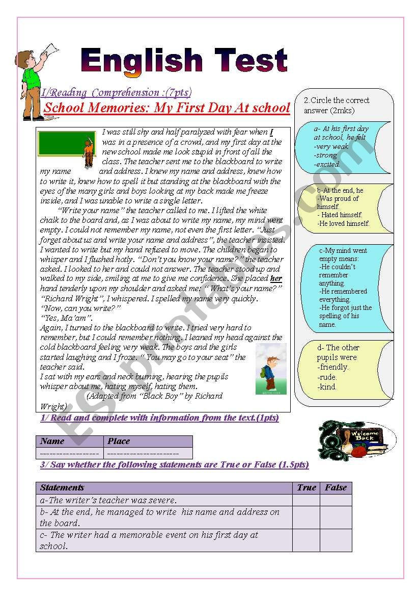 English Test(9th form end of term 1 tst(Reading+ Writing))(3 parts): Reading Comprehension: School Memories: MY FIRST DAY AT SCHOOL/ Grammar +Vocabulary tasks/ Writing :write about one or two of  your school memories.