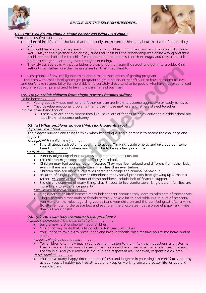 SPEAKING AND WRITING.. worksheet