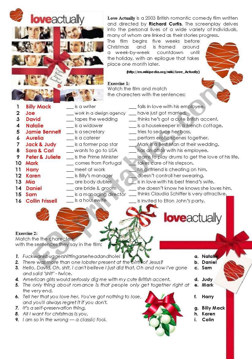 LOVE ACTUALLY - movie worksheet