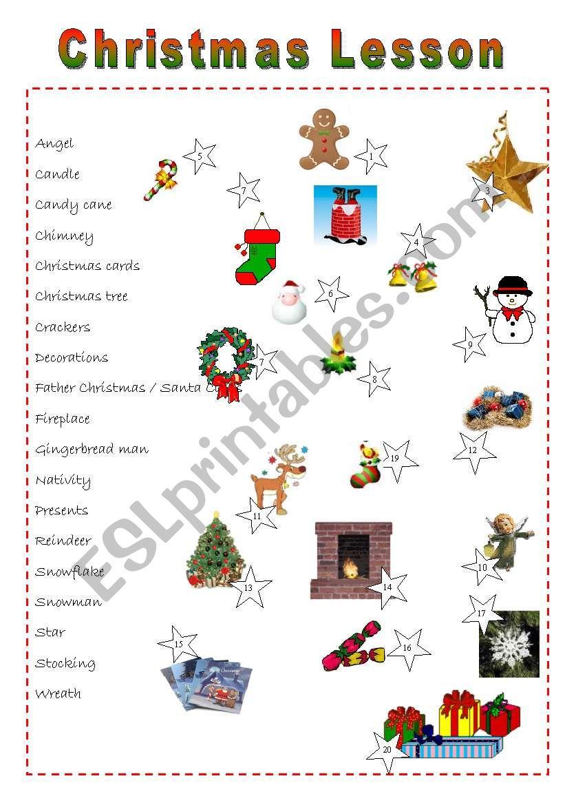 A Christmas lesson - ESL worksheet by celine1