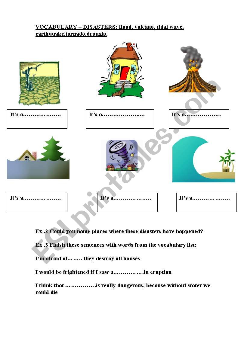 Esl Natural Disasters Vocabulary