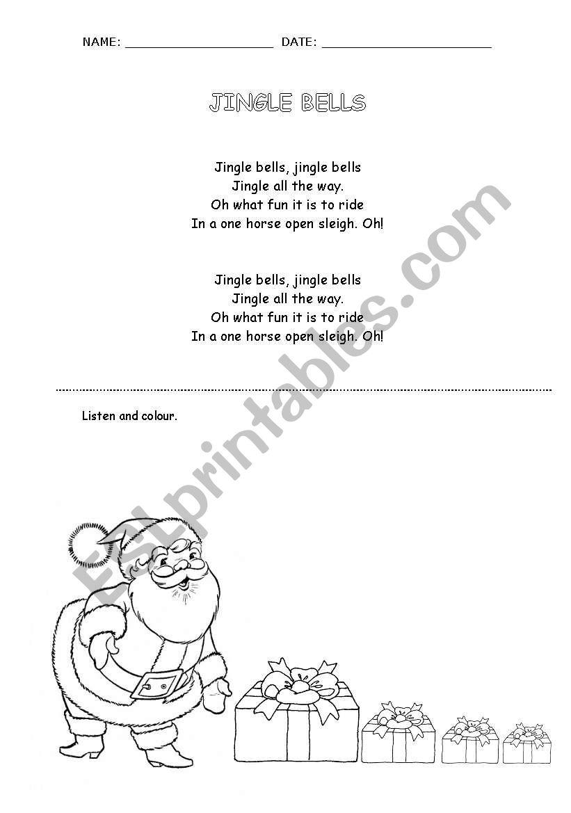 Jingle Bells Christmas song - ESL worksheet by cristina cabanellas