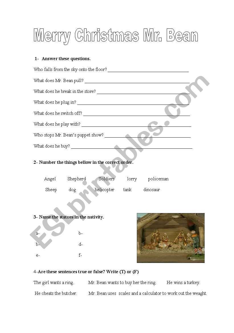 Merry Christmas Mr Bean Esl Worksheet By Consol