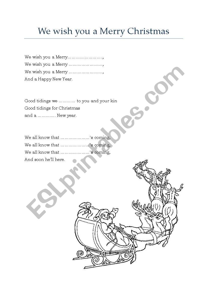 We wish you a Merry Christmas - carol / song - ESL worksheet by m19m