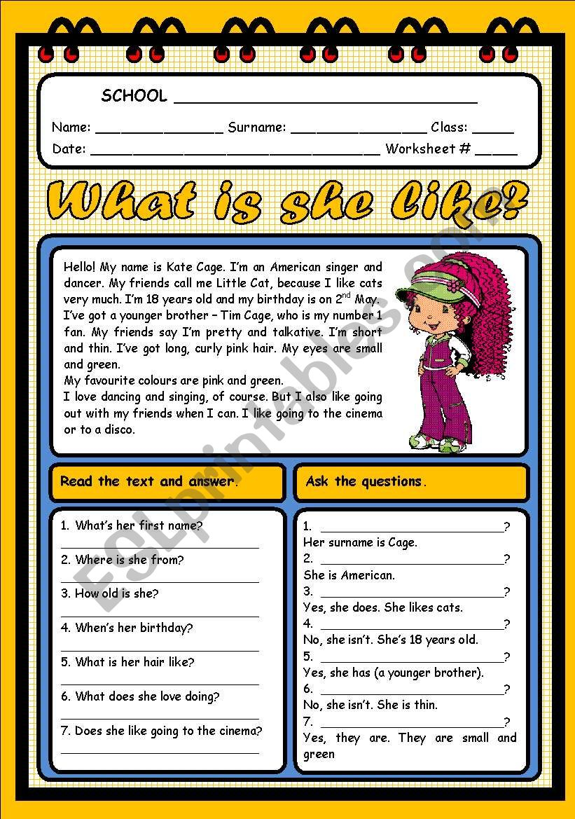 WHAT IS SHE LIKE? (2 PAGES) worksheet