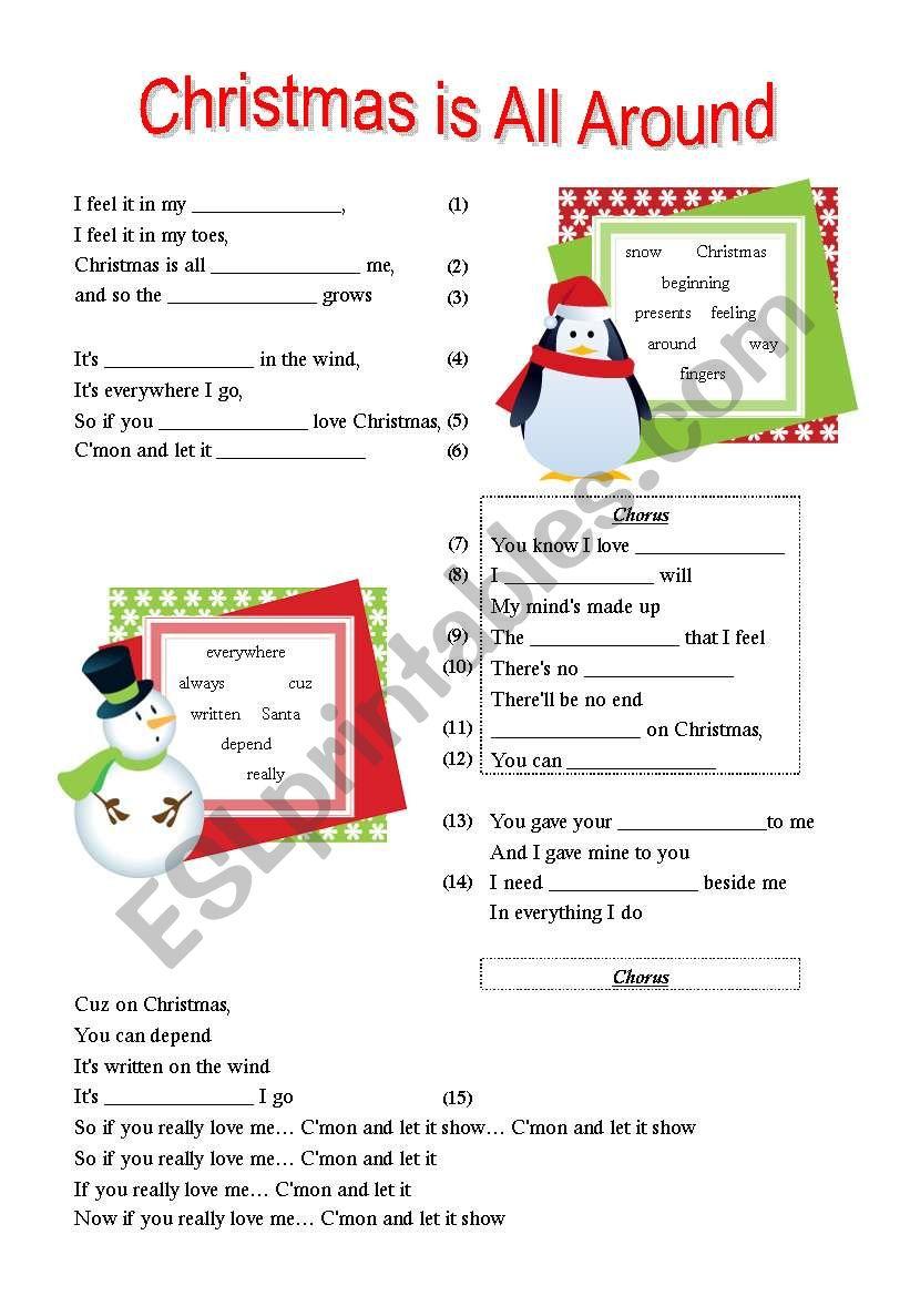 Christmas Is All Around.Christmas Is All Around Esl Worksheet By Hermione11185