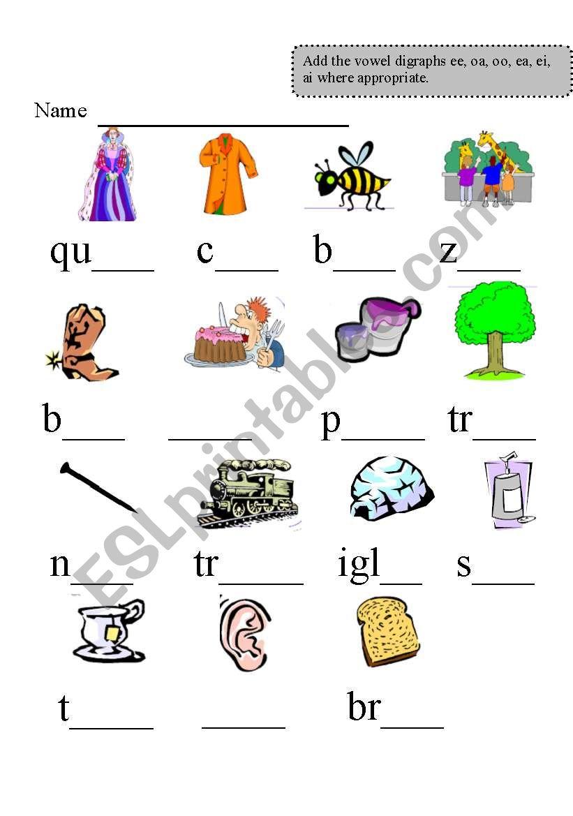 Vowel Digraphs Esl Worksheet By Johnnym EA Digraph Worksheets Vowel Digraphs Worksheet