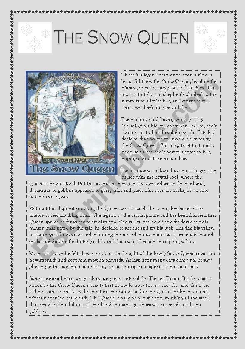 snow queen reading worksheet