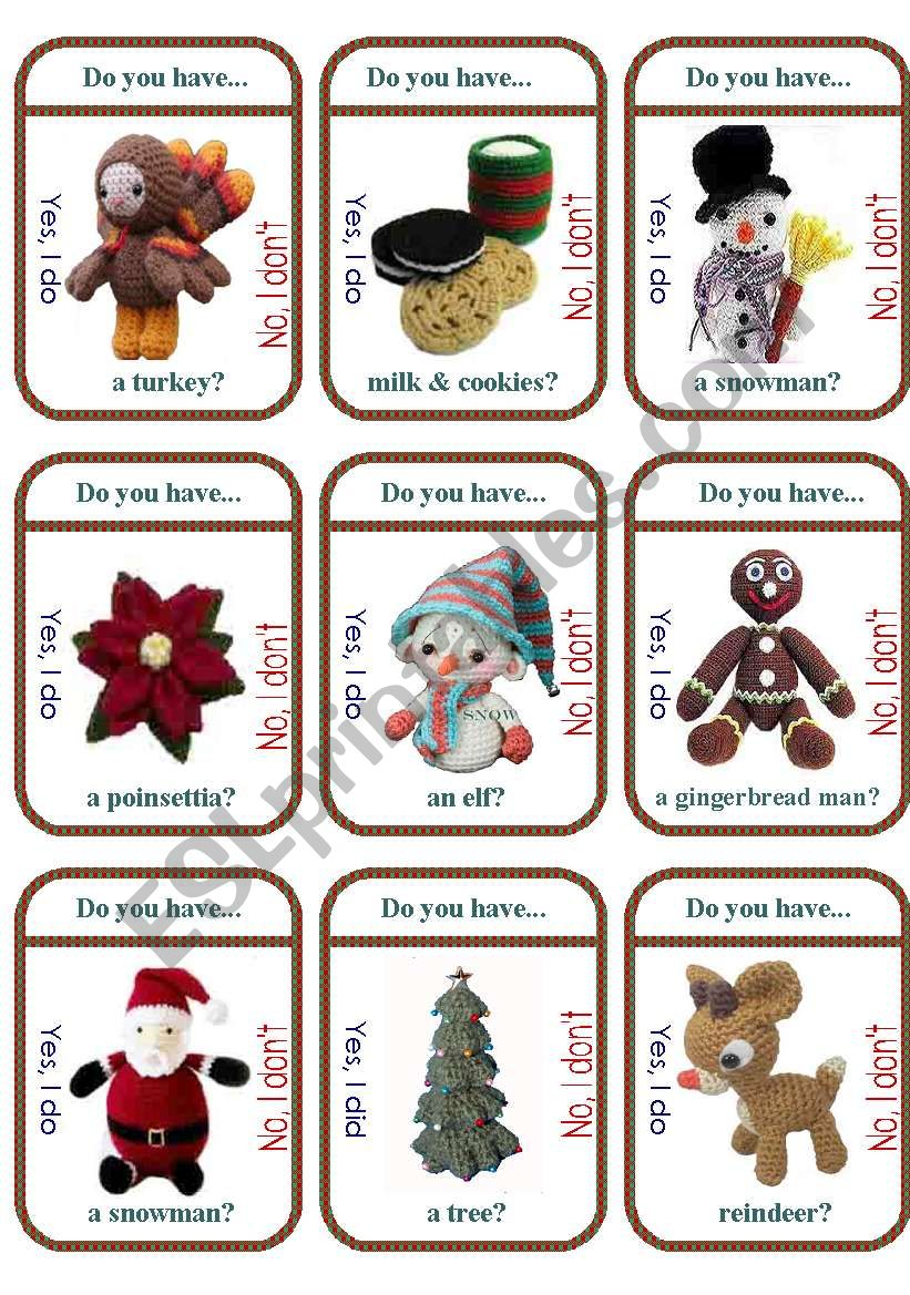 Christmas Traditions Game Cards