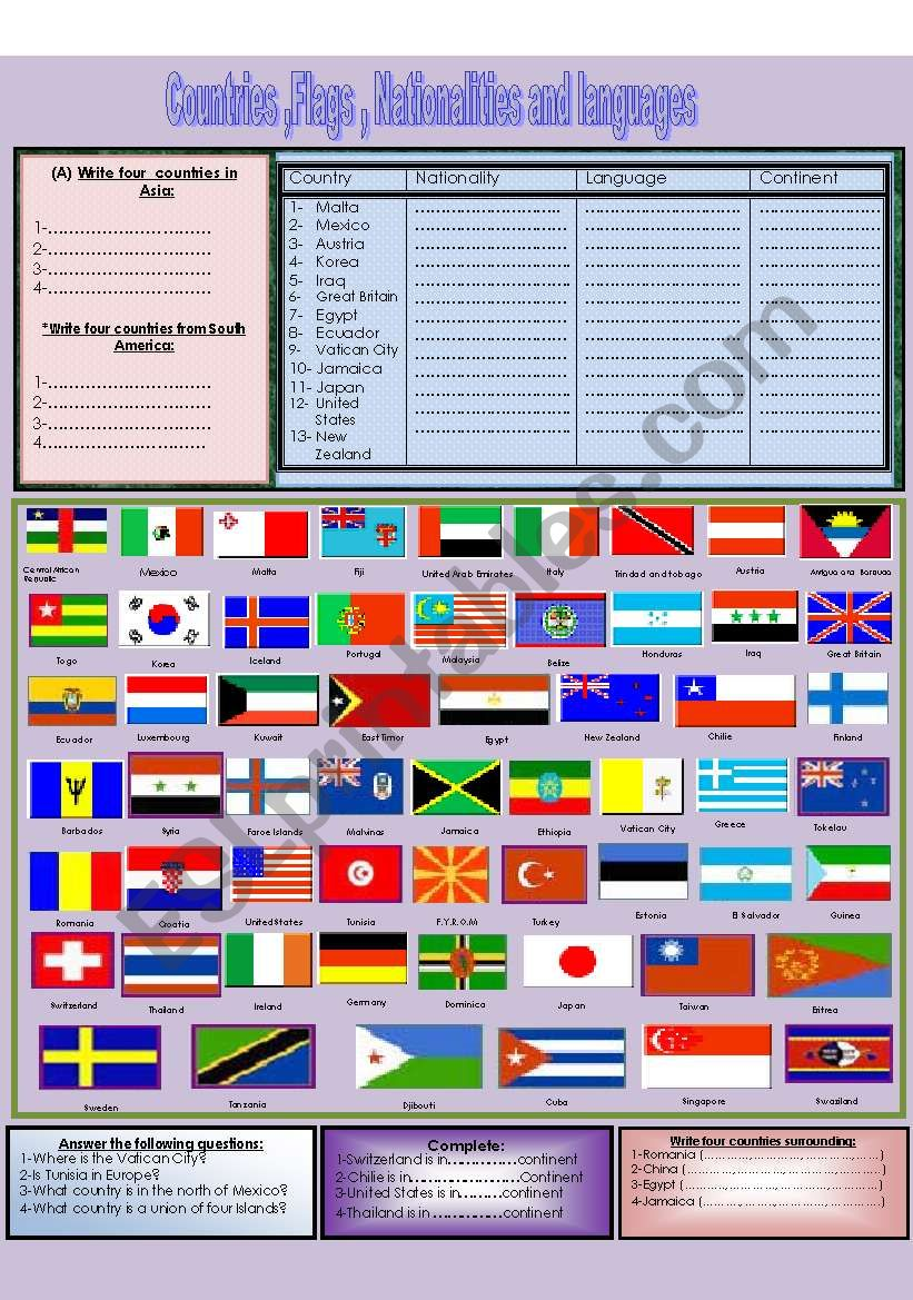 (Flag Dictionary) Falgs,countries,languages and nationalities