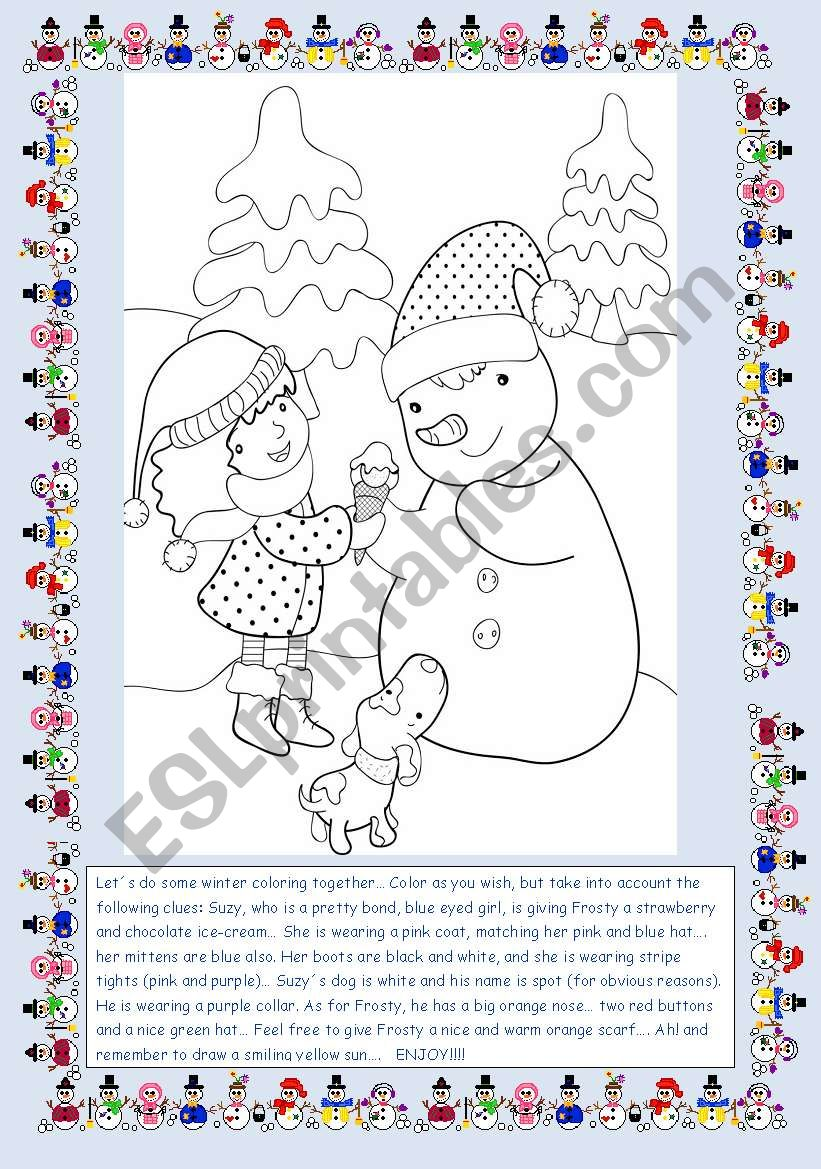 Suzy and Frosty worksheet