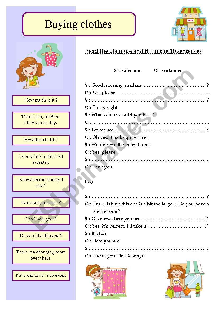 345097_1-Buying_clothes Clothes Worksheet Pinterest on printable esl, kindergarten esl, preschool matching, preschool winter, summer winter,