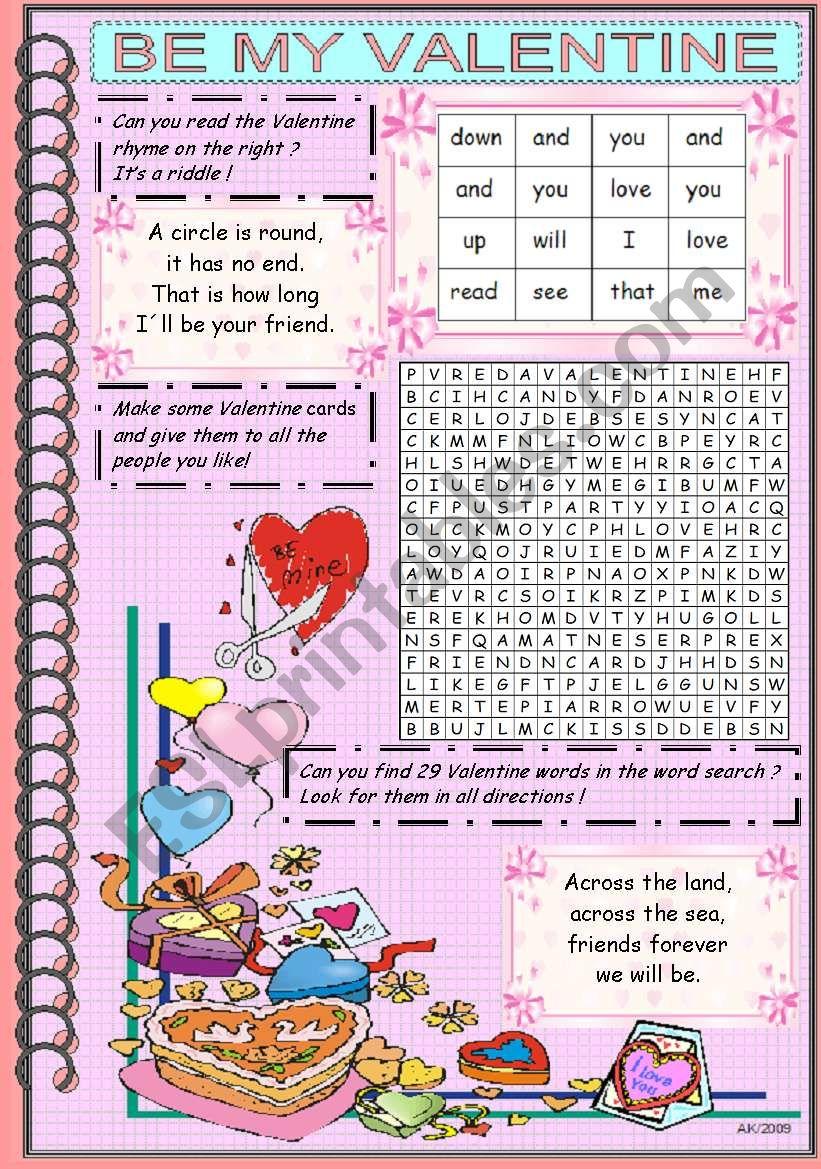 BE MY VALENTINE worksheet