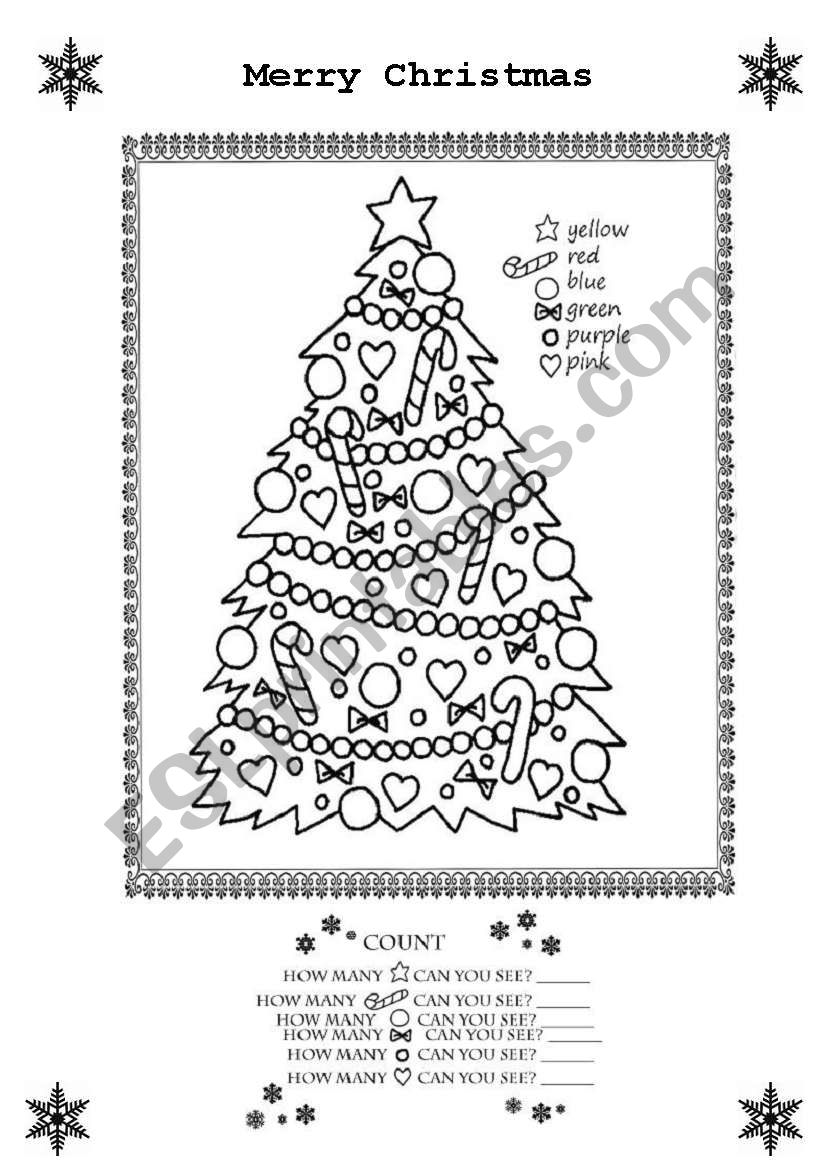 Merry Christmas Colouring Sheet - ESL worksheet by tranquilia
