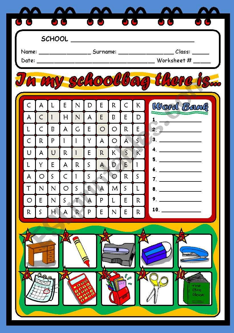 SCHOOL OBJECTS - WORDSEARCH worksheet