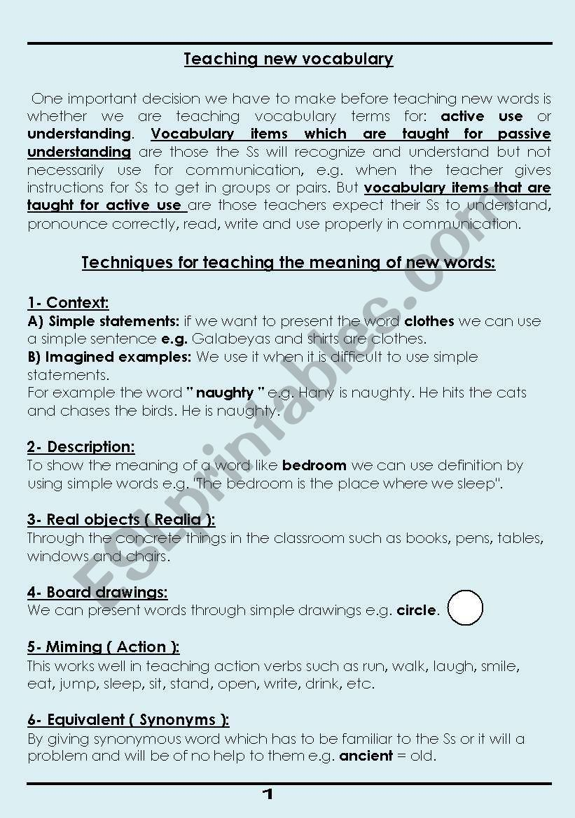 How to Teach new vocabulary worksheet