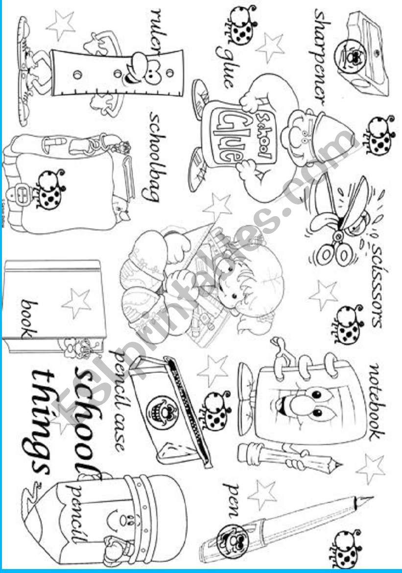 school things pictionary worksheet