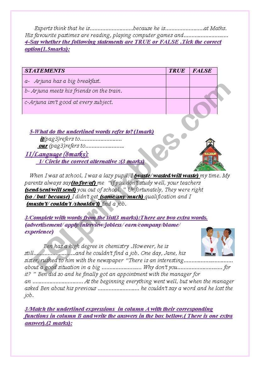 English Test(3 parts): Reading Comprehension/Grammar+ Vocabulary
