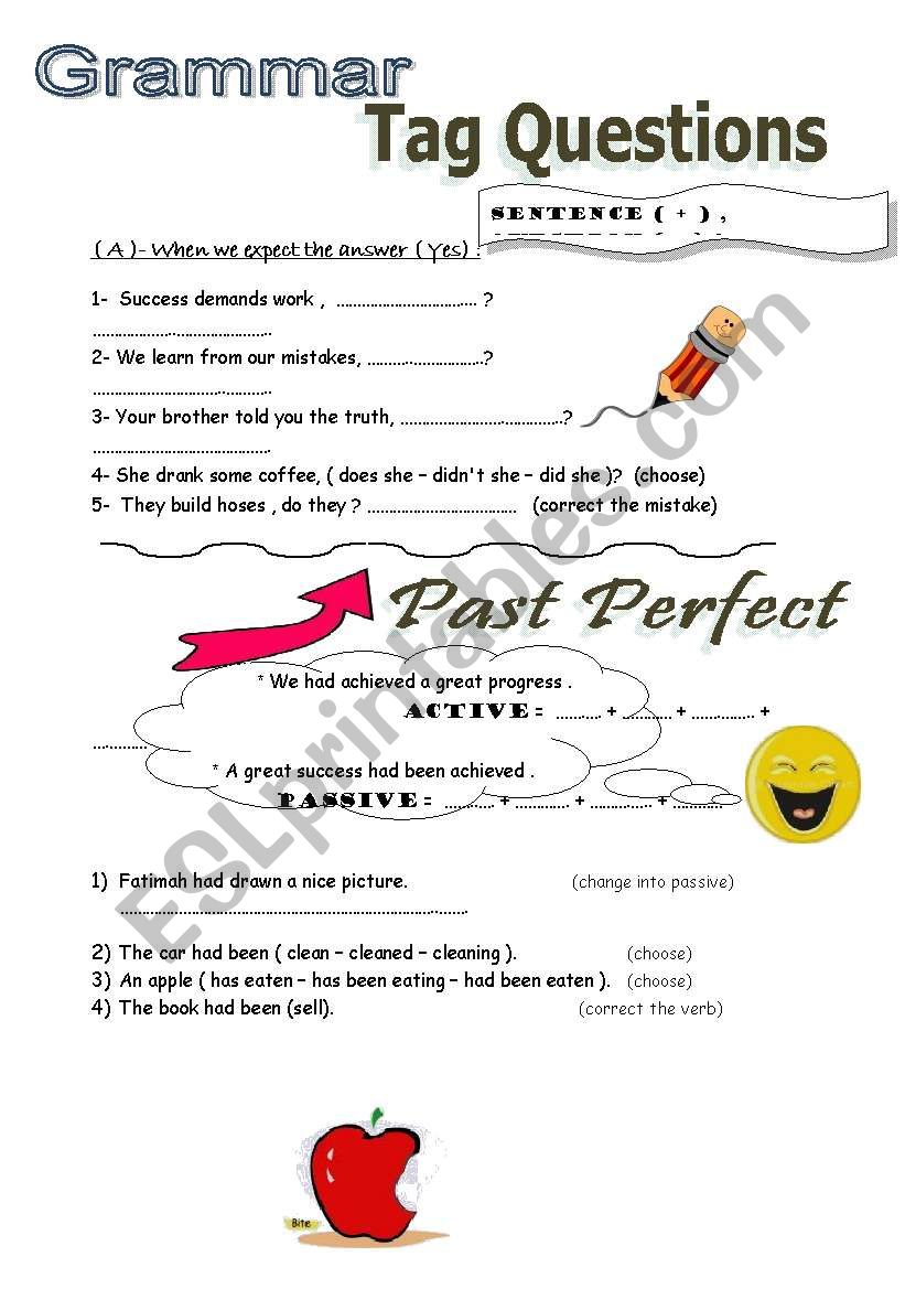 Tag Questins worksheet