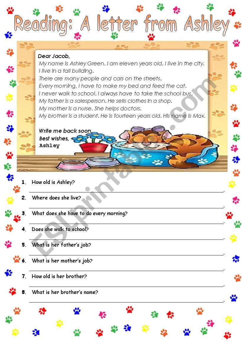 Easy reading activity worksheet