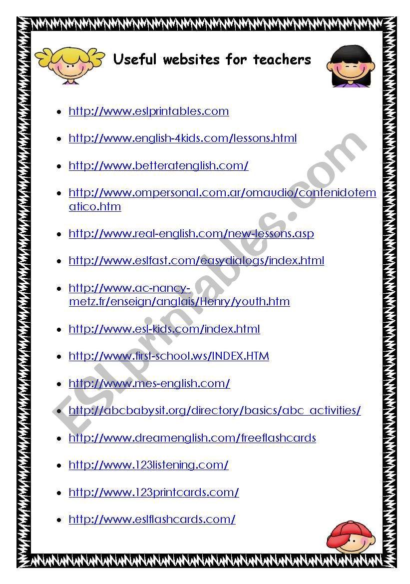 WEBSITES FOR TEACHERS - ESL worksheet by cahbsb