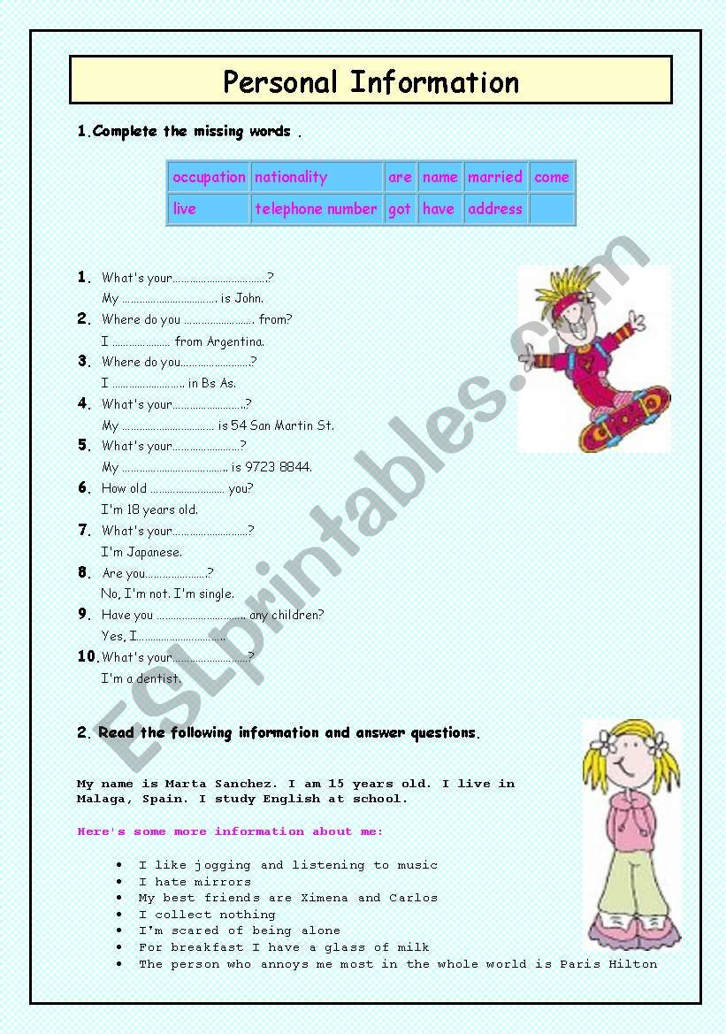PERSONAL INFO worksheet