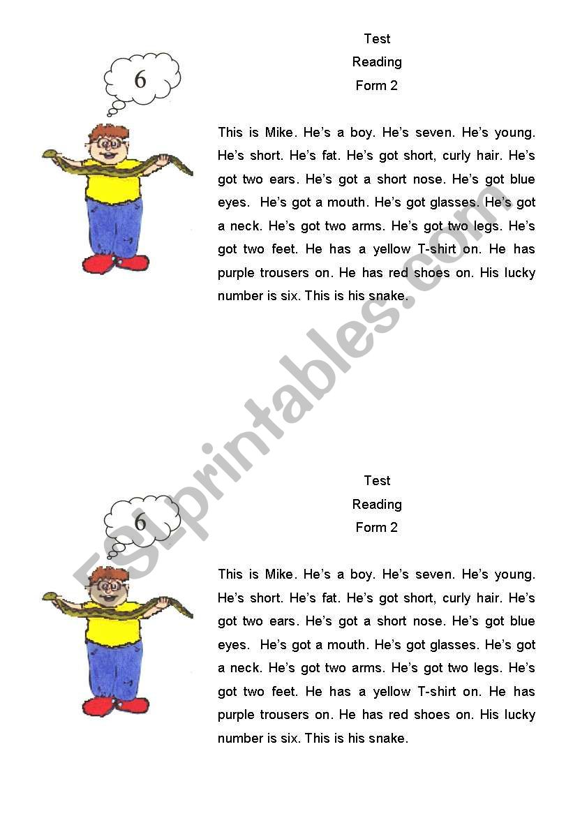 Preview A Text Worksheet : Text for reading esl worksheet by yabko