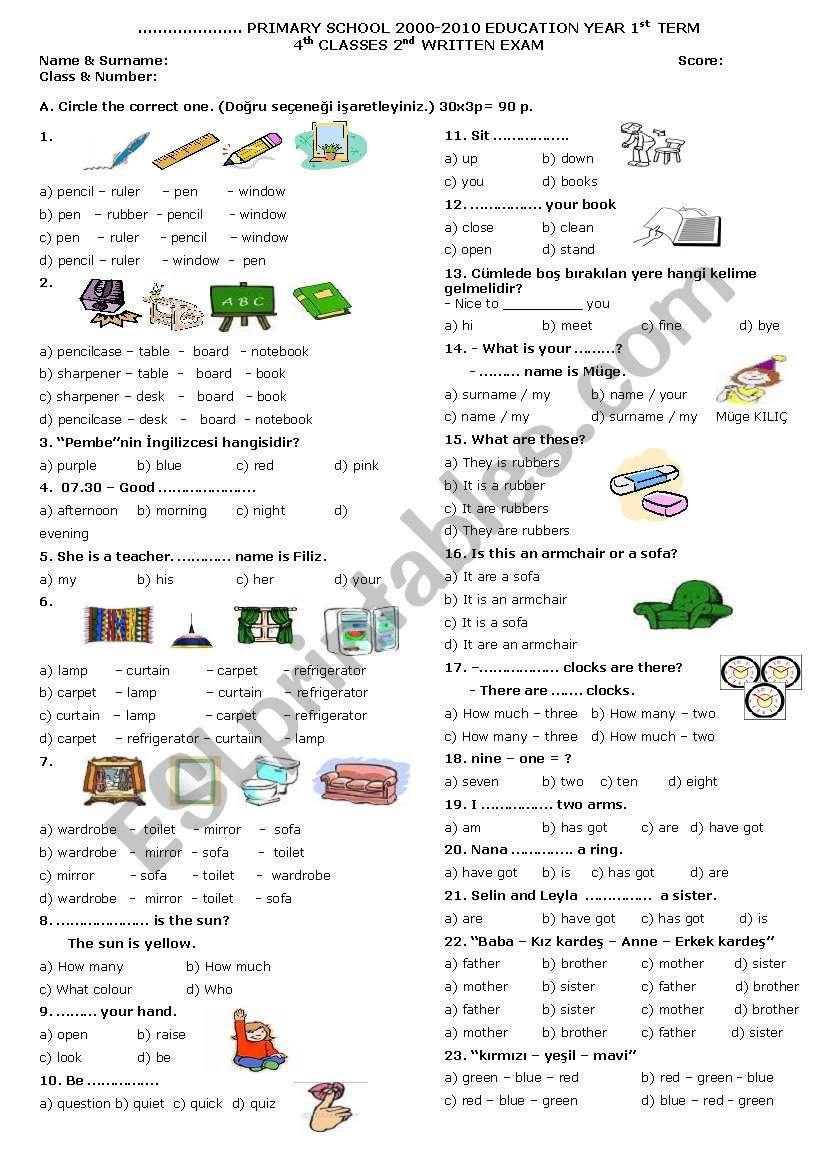 4th grade 2nd exam worksheet