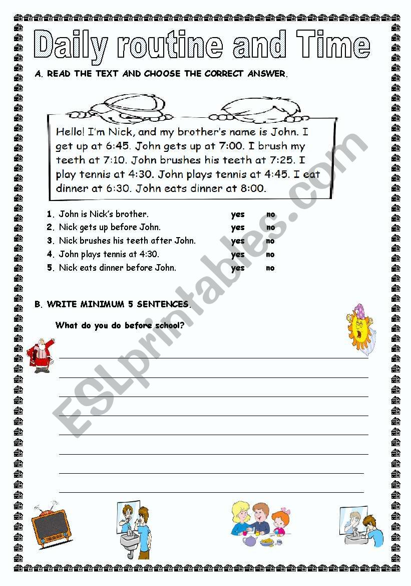 Reading and Writing Activity worksheet