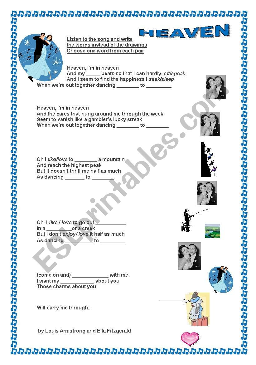DANCING CHEEK TO CHEEK worksheet