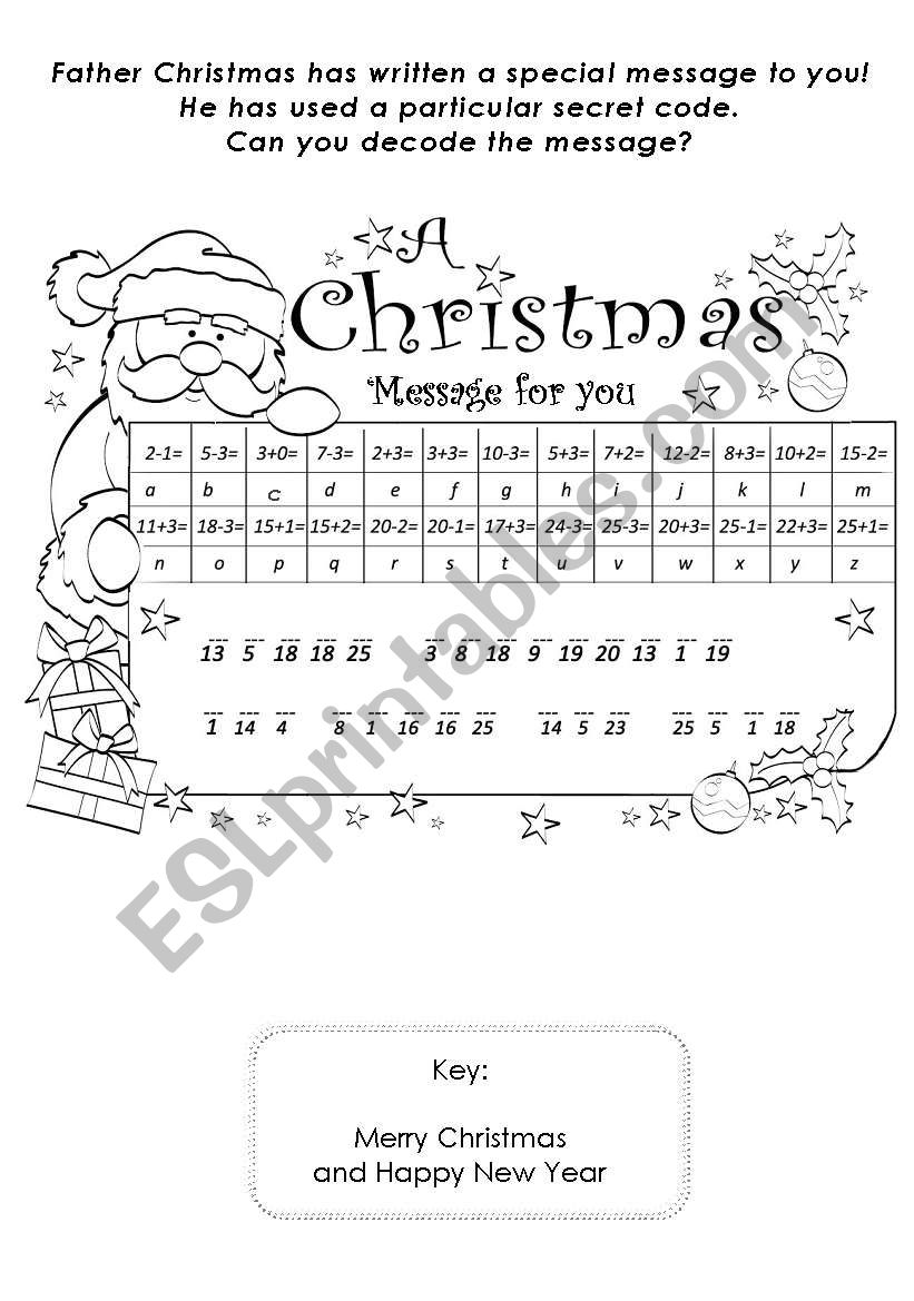 Father Cristmas Message worksheet