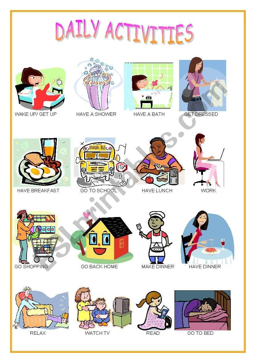 DAILY ACTIVITIES - ESL worksheet by nephelie