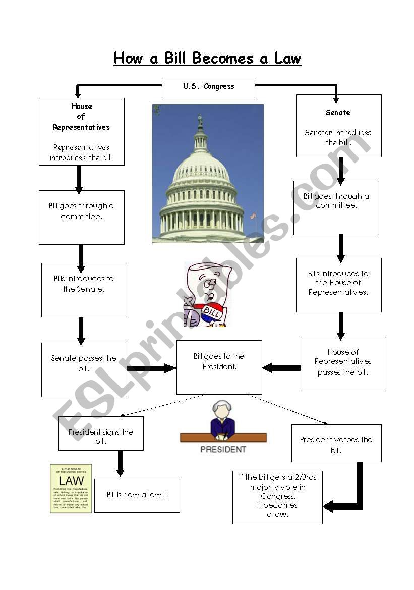 How Bill becomes a Law - answer - ESL worksheet by ...