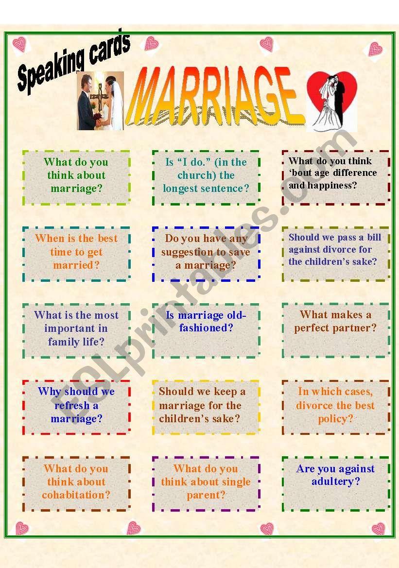 Speaking cards: Marriage worksheet